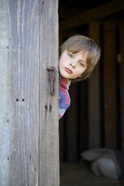 Nuori poika kurkkii vajan ovesta ulos.